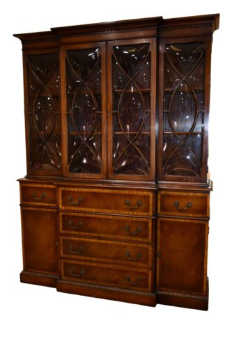Vintage Two Piece Traditional Inlaid Mahogany China Cabinet w/Bubble Glass
