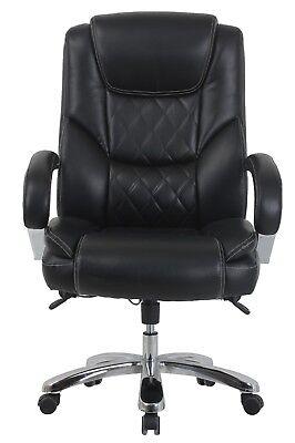 Vinmax Big Tall High Back Executive Chair Heavy Duty Chrome Metal Armrests-bl