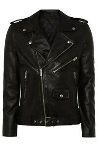 BLK DNM Black Leather Jacket 5 Double Rider Size Small