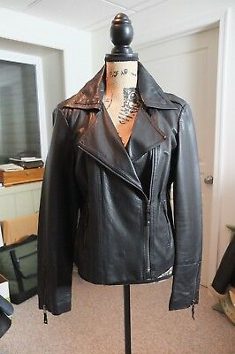 MID-WEEK SPECIAL NY&CO. BLACK FAUX LEATHER MOTO CHIC JACKET   COTTON-LINED   Chic Cotton Moto Jacket