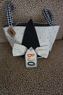 NWT Canvas Halloween Trick Or Treat Candy Bag By Mudpie Witch Hat  BOO  - Mud Pie Halloween Bags