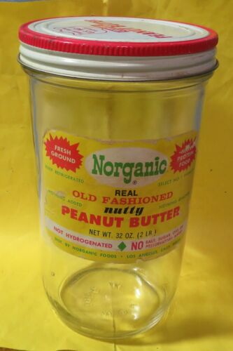 Vintage Clear Glass NORGANIC NUTTY Old Fashioned Peanut Butter Jar California