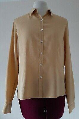 Women's Jones New York Country   Pure Silk Shirt Size 10 Long Sleeve Yellow