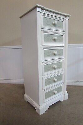 LEXINGTON LINGERIE CHEST, 6 DRAWER SLENDER DRESSER, WHITE, GREEN COASTAL COTTAGE Cottage 6 Drawer Dresser