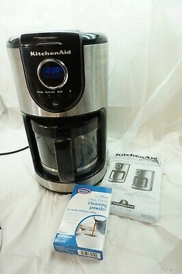 KITCHEN AID COFFEE MAKER 12 CUP GLASS CARAFE KMC111 BLACK AND STAINLESS INSTRUCT