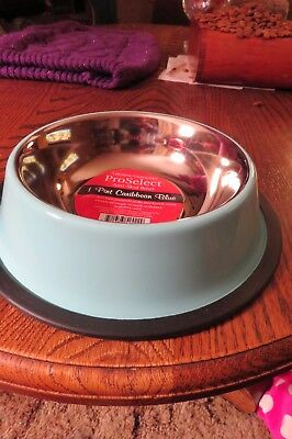 NEW PROSELECT ANTI SKID BOWL , 1 PINT IN CARIBBEAN BLUE GREAT FOR DOG OR KITTY