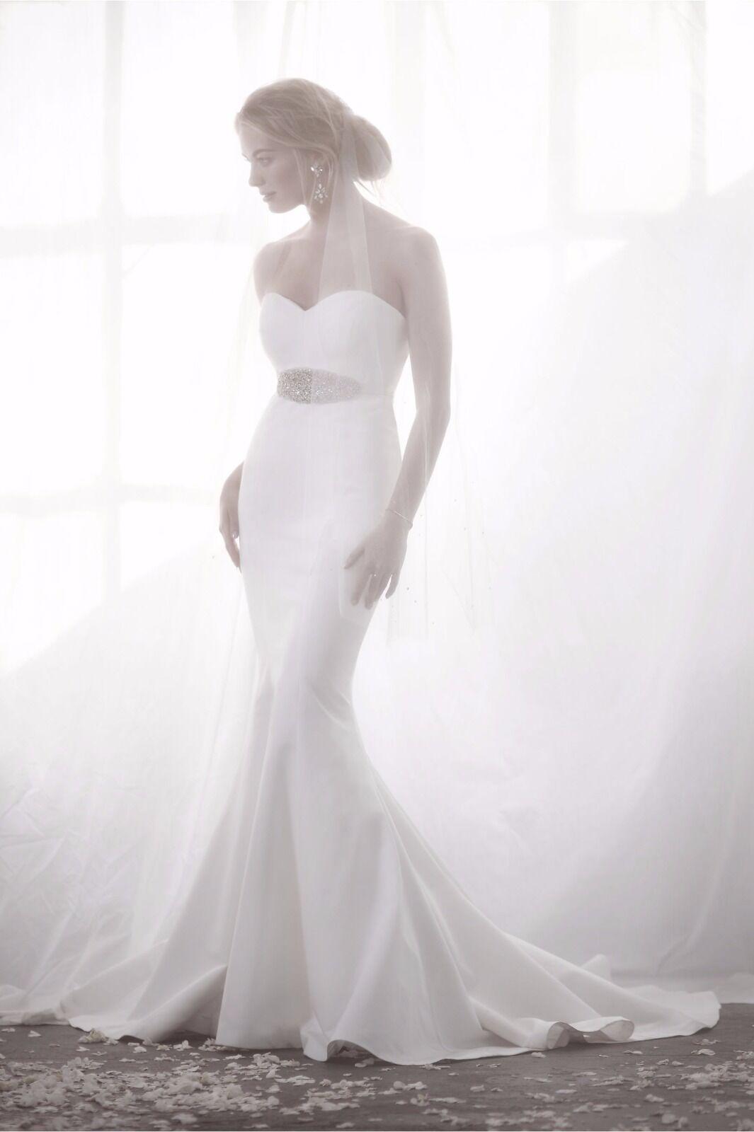 BHLDN NEW NICOLE Miller Dakota Silk Faille Strapless Gown Wedding ...