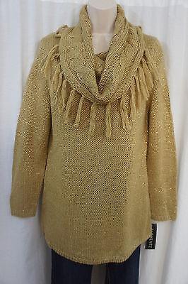 Langarm Metallic Kragen (Elementz Sweater Sz L Gold Metallic Langarm Rollkragen Freizeit Pullover)