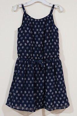 EUC Nautica Girls Spring Navy Blue With Striped Dots Sun Dress Size 6