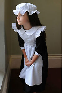Deluxe-Victorian-Millie-Maid-fancy-dress-up-BNWT-3-13yrs-Smock-Apron-Cap-costume