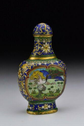Signed Chinese Cloisonne & Gilt Bronze Snuff Bottle w/ Bird Scenes 19th Century