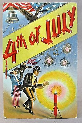 1910 UNCLE SAM & TOP HAT MAN lighting firecrackers 4th of July embossed postcard for sale  Shipping to Canada