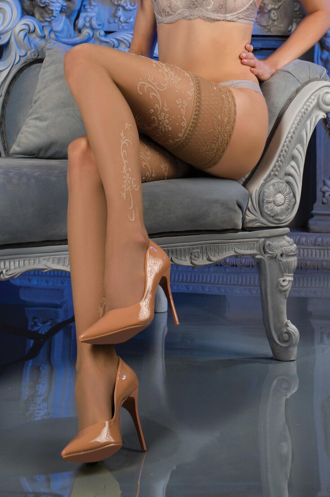 Sexy Halterlose Strümpfe Hautfarben Hold Ups Stockings Spitze Straps Gr S/M L/XL