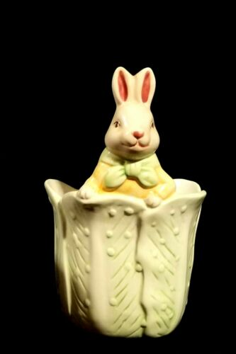 Vintage Bloom-Rite Ceramic Easter Bunny In Cabbage Planter