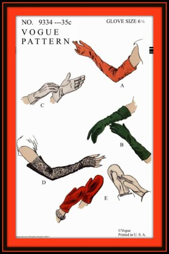 Long/Short GLOVES MITTS Mittens Size 6-1/2 Vintage VOGUE 9334 Fabric Sew Pattern