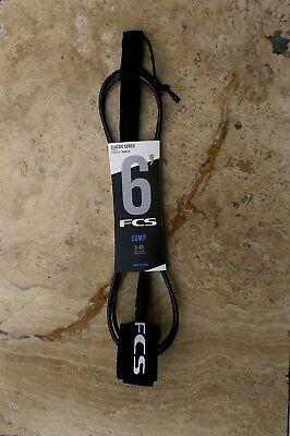 NEW FCS 6' (6ft.) Comp (5.5mm) Classic Surfboard Surf Leash - Black