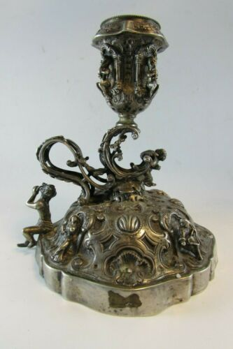 Antique Rare German Solid Silver Figural Chamberstick Hanau circa 1900 420g