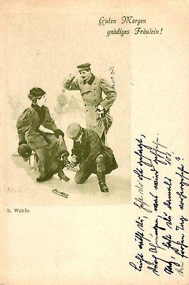 Mann zieht einer Dame die Schlittschuhe an, Eislauf, um 1900/05 - Mann Zieht