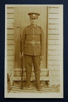 WW1 Postcard RP Soldier Cheshire Regiment Rifle With Fixed Bayonet