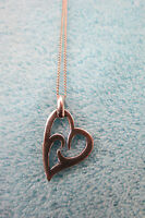 925 Solid Silver Stylised Heart Pendant Necklace -  - ebay.co.uk