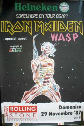 IRON MAIDEN WASP 1986-87 VINTAGE ORIG ITALY SOMEWHERE CONCERT TOUR PROMO POSTER