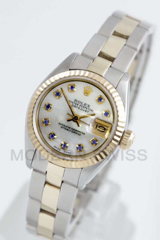 Rolex Ladies Datejust Gold & Steel Mop Sapphire Diamond Dial Oyster Two Tone