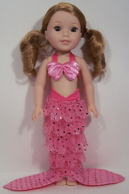 PINK Halloween Mermaid Outfit Doll Clothes For AG 14 Wellie Wisher Wishers (Debs](Ag Doll Halloween)