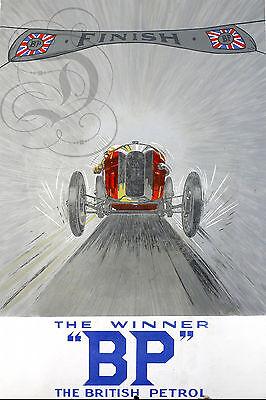 - PLAQUE ALU DECO REPRODUISANT UNE PLAQUE EMAILLEE BP FINISH WINNER VOITURE 1920