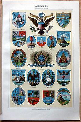 Wappen - Amerikanische Staaten. Alte Farblithographie (um 1905) Sehr dekorativ!