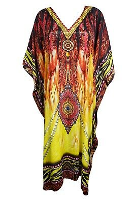 Bohemian KAFTAN Womens Red Yellow Jewel Print Caftan Beach CoverUp Maxi Dress 3X