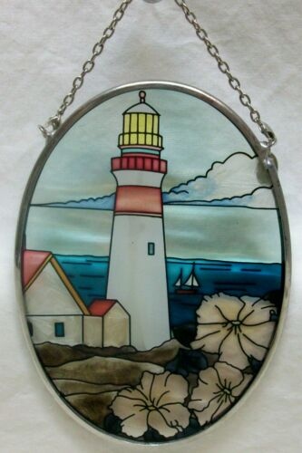 "NWOB Lighthouse Sailboat Suncatcher Hand Painted Art Glass 4-1/2"" Tall NEW Cond"