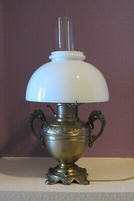 The Rochester Antique Ornate Oil Lamp Converted to Electricity Chimney and Globe