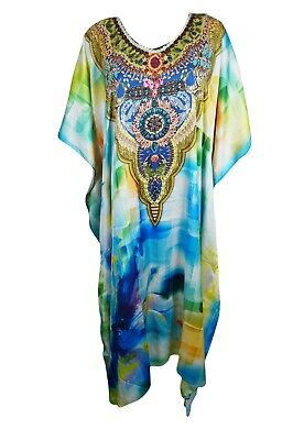 Women's Maxi Caftan VIVID GREEN Jewel Printed Resort Wear Plus size Cover Up 3X