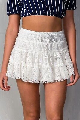 Lace Ruffled Mini Skirt - Ivory Ruffle Tier Lace Pull-on Smocked Waistband Lined Mini Skirt S M L
