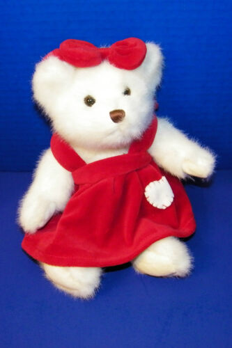 """Jerry Elsner Plush Stuffed White w Red Dress w Heart Valentines Day Bear 10 1/2"""""""