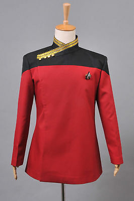 Star Trek TNG Picard Dress Uniform Red Jacket Costume Cosplay Halloween (Star Trek Tng Halloween Costumes)