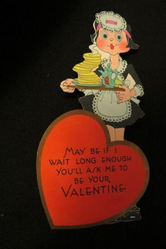 Vintage Art Deco PANCAKE & Waiteress valentine card c 1920s