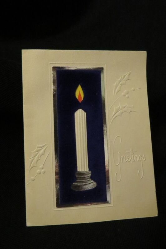 Vintage ART DECO CANDLE Christmas card c. 1930s