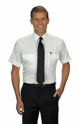 Van Heusen 100% Cotton Non-Iron Aviator Shirt - Men's Short Sleeve Pilot Uniform Van Heusen Aviator