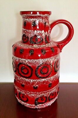 West German Pottery midcentury Vase Scheurich Form 408-40 rot red hand painted