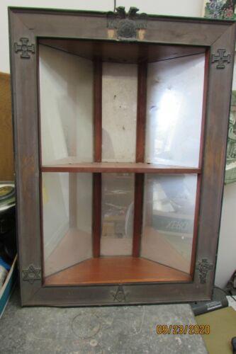 antique hanging corner cabinet shelf mirrored masonic scotish rite markings