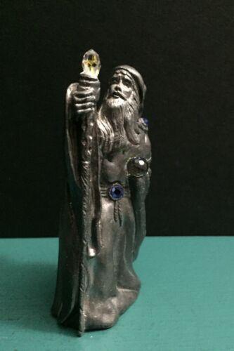 92 Michael Ricker Pewter Metal David Wizard Mage Staff Crystal Ball Gem Figurine
