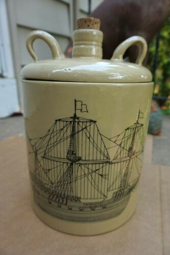 Vintage Ice Bucket Sailing Ship with Whiskey Jug Ceramic Pottery Lid