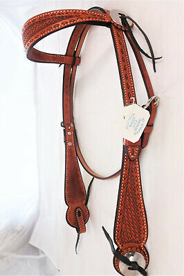 New Leather Earloop Headstall with Pink Buckstitch Horse Tack