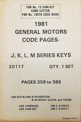 Curtis 1981 General Motors Code Pages J K L M Series Keys Cutter Model 15