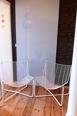 """2 Designklassiker Drahtsessel Wire-Chair Sessel """"JÄRPEN"""" Niels Gammelgaard weiß"""