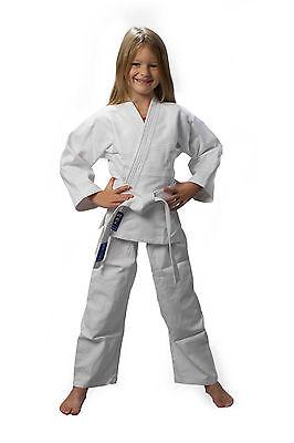 AKTION JUDOAnzug weiß Judo-Anzug NEU 140, Reiskornwebung mit Gürtel