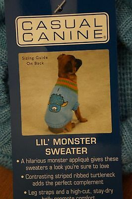 NEW Casual Canine Lil' Monster Pet Dog Sweater Size XX-Small in Blue