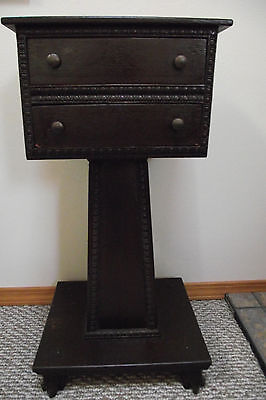 c1850 antique 2 drawyer carved foot Nightstand ,sewing table or smoking table