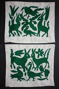 2-NEW-MEXICAN-HAND-EMBROIDERED-PILLOW-CASES-OTOMI-ETHNIC-NATIVE-TEXTILE-FOLK-ART